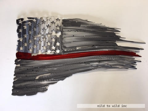 American Flag with Red Line